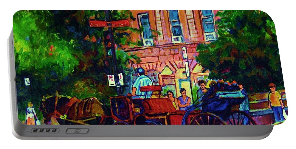 Rue Notre Dame Portable Battery Charger featuring the painting Horsedrawn Carriage by Carole Spandau