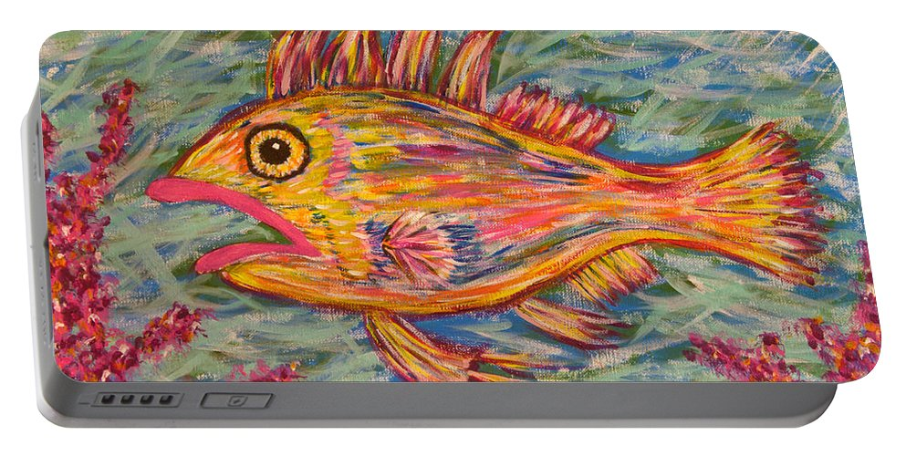 Fish Portable Battery Charger featuring the painting Hot Lips The Fish by Susan Cliett