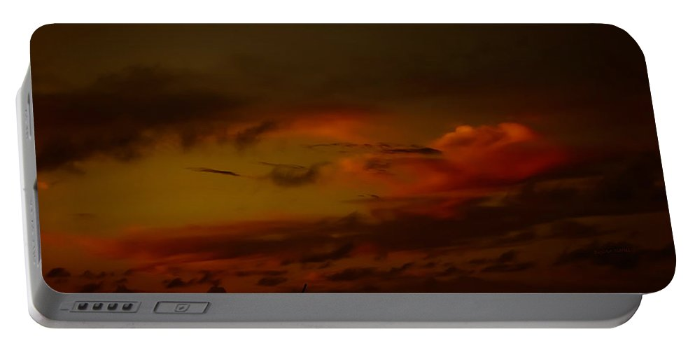 Clouds Portable Battery Charger featuring the photograph Hot Summer Night Sky by DigiArt Diaries by Vicky B Fuller