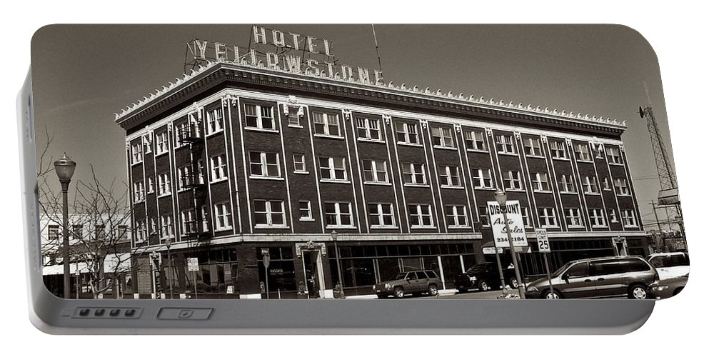 Hotel Yellowstone Portable Battery Charger featuring the photograph Hotel Yellowstone by Eric Tressler