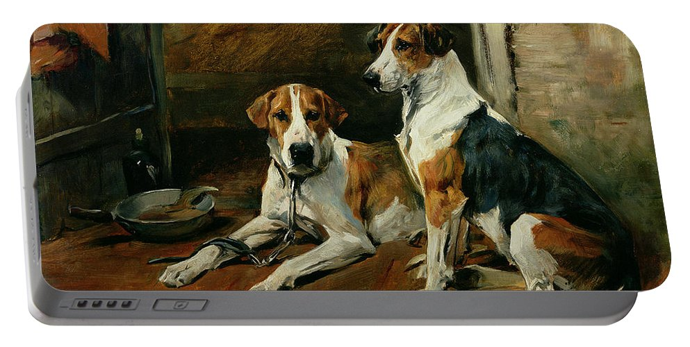 Hounds In A Stable Interior Portable Battery Charger featuring the painting Hounds In A Stable Interior by John Emms