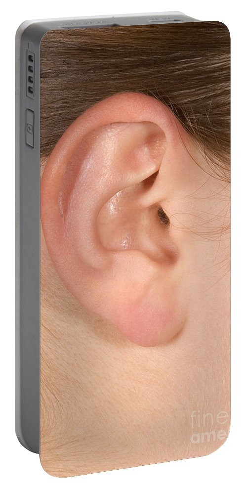 Ear Portable Battery Charger featuring the photograph Human Ear by Ted Kinsman