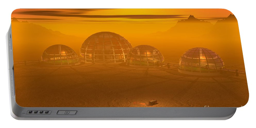 Artist's Concept Portable Battery Charger featuring the digital art Human Settlement On Alien Planet by Carol and Mike Werner and Photo Researchers