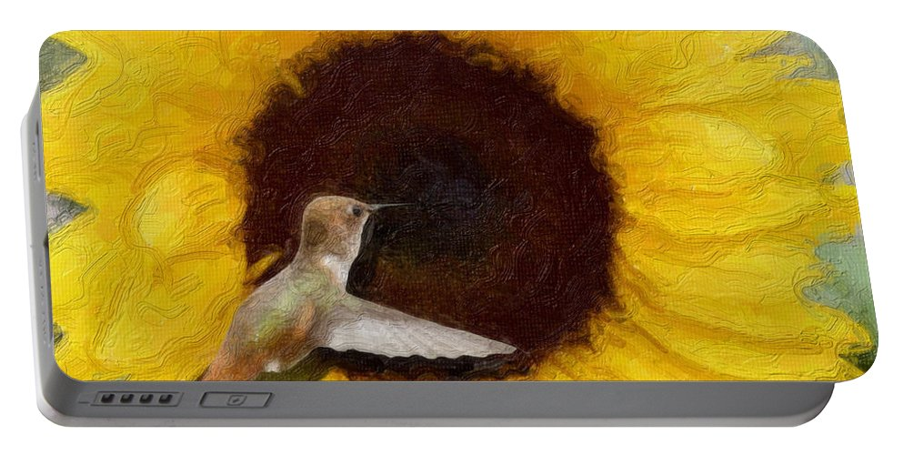 Hummingbird Portable Battery Charger featuring the photograph Hummingbird On Sunflower by Diana Haronis