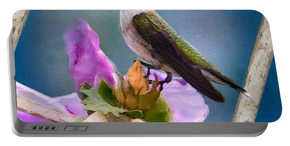 Ruby-throated Hummingbird Portable Battery Charger featuring the photograph Hummingbird Picture Pretty by Betty LaRue