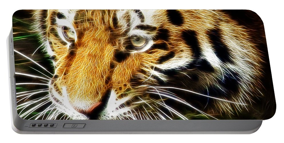 Tiger Portable Battery Charger featuring the photograph Hungry Tiger by Darleen Stry