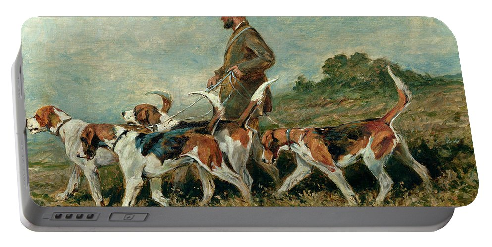 Foxhounds Portable Battery Charger featuring the painting Hunting Exercise by John Emms