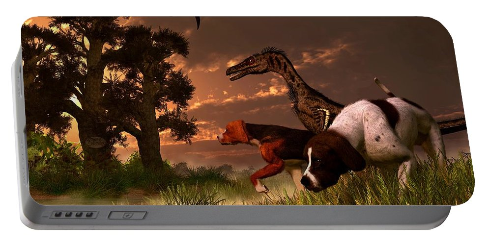 Hunting Portable Battery Charger featuring the digital art Hunting In The Age Gene Splicing by Daniel Eskridge