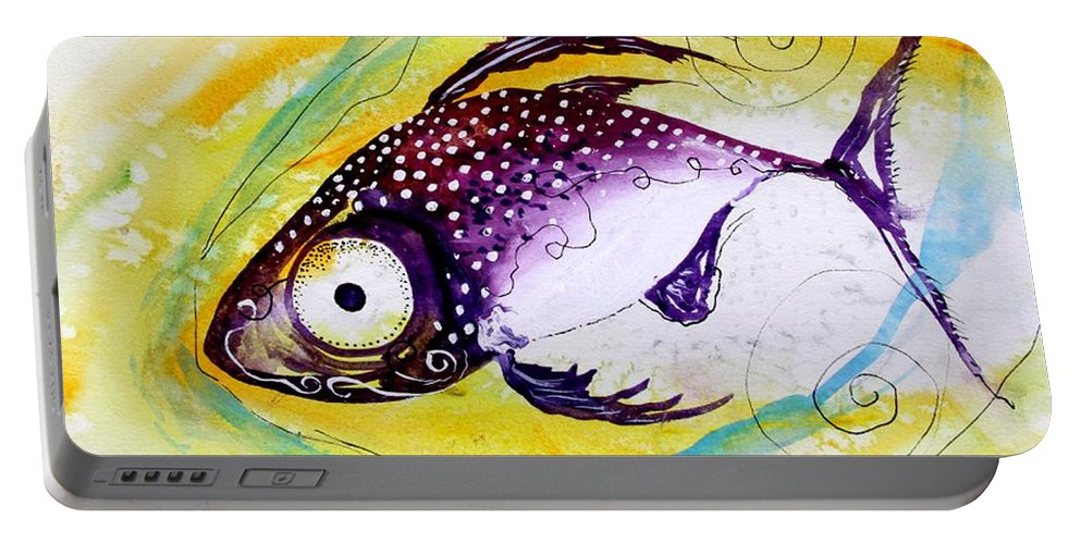 Fish Portable Battery Charger featuring the painting Hurricane Fish 7 by J Vincent Scarpace