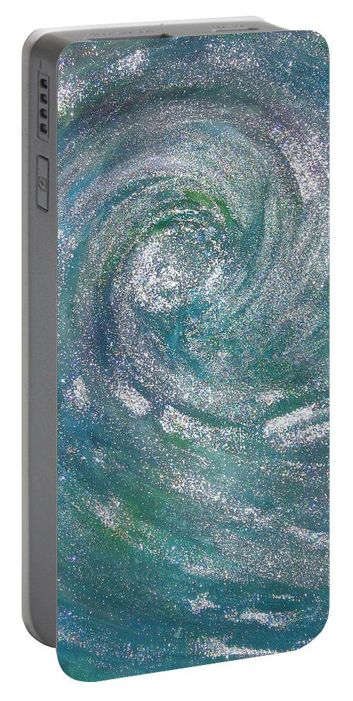 Hurricane Portable Battery Charger featuring the painting Hurricane Of Light by Leanne Karlstrom