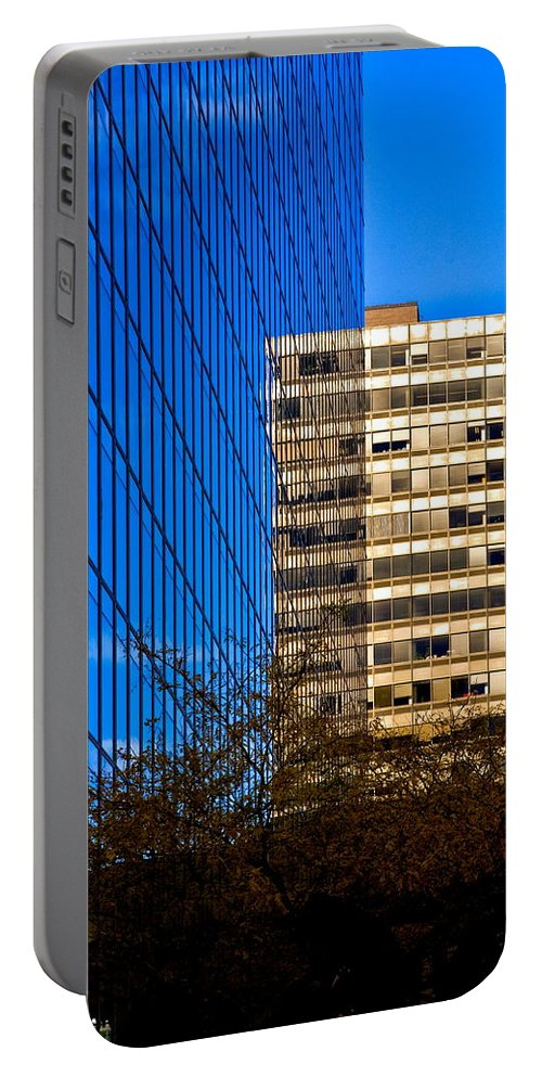 Cityscape Portable Battery Charger featuring the photograph Illusion by Burney Lieberman
