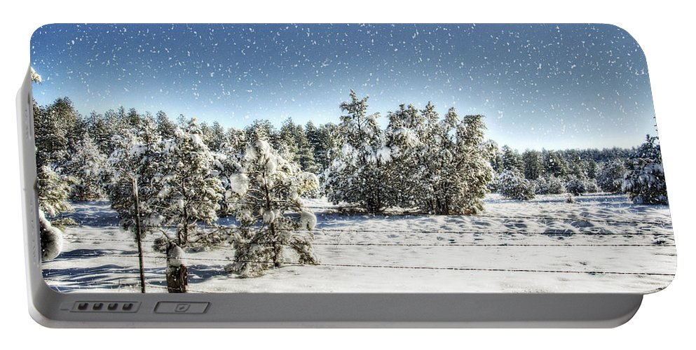 Winter Portable Battery Charger featuring the photograph I'm Dreaming Of A White Christmas by Saija Lehtonen