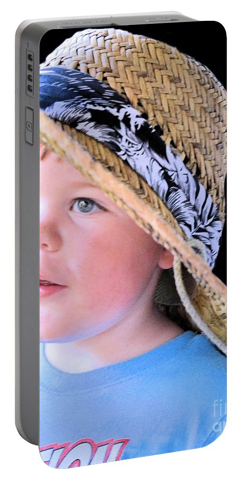 Boy Portable Battery Charger featuring the photograph In Grandpa's Hat by Maria Urso