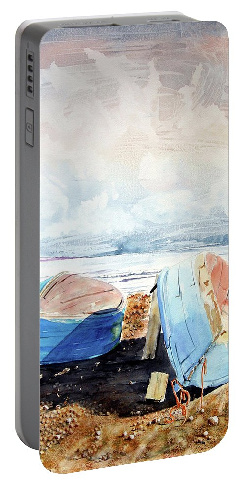 Watercolor Portable Battery Charger featuring the painting In Secca Sulla Spiaggia by Giovanni Marco Sassu