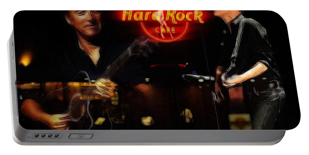 Bruce Springsteen Bryan Adams Hard Rock Cafe Oil Painting Famous Star Stars Musican Music Concert Portable Battery Charger featuring the painting In The Hard Rock Cafe by Steve K
