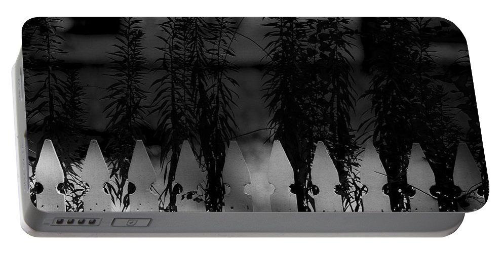 Picket Fence Portable Battery Charger featuring the mixed media In The Shadows by Kim Henderson