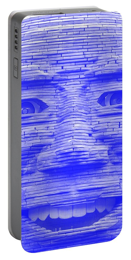 Architecture Portable Battery Charger featuring the photograph In Your Face In Negative Light Blue by Rob Hans