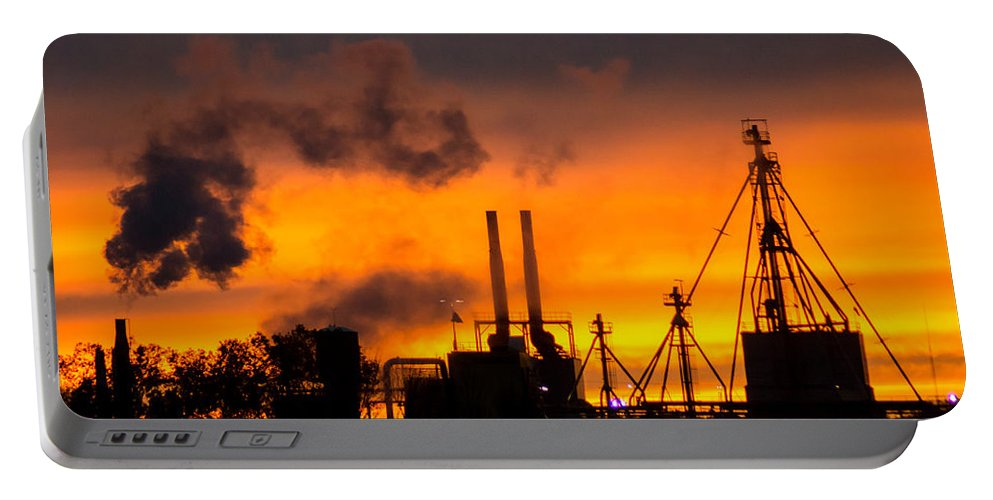 Industrial Portable Battery Charger featuring the photograph Industrial Strength Sunset by Bill Pevlor