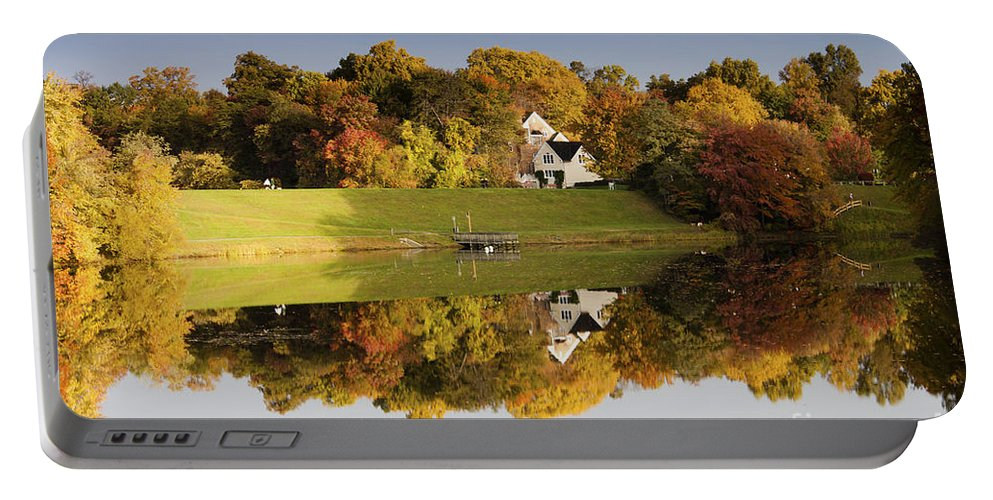 Autumn Portable Battery Charger featuring the photograph Inspiration Lake In Autumn by Thomas Marchessault