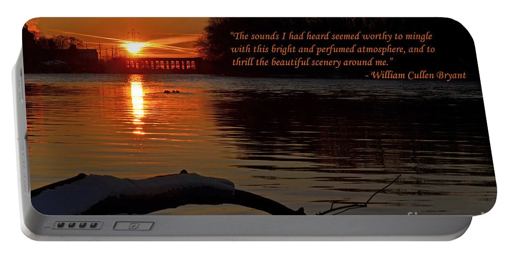 Color Photography Portable Battery Charger featuring the photograph Inspirational Sunset With Quote by Sue Stefanowicz