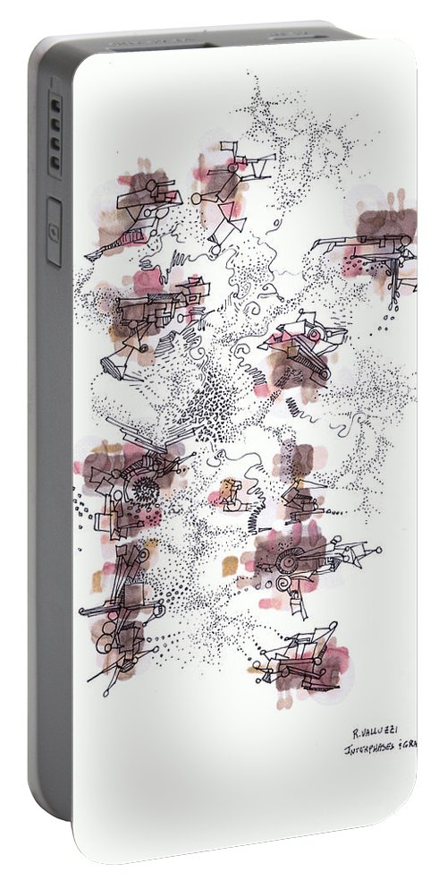Growth Portable Battery Charger featuring the drawing Interphases And Grains by Regina Valluzzi