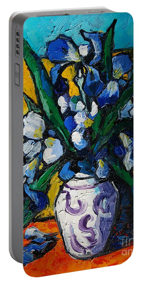 Irises Portable Battery Charger featuring the painting Irises by Mona Edulesco