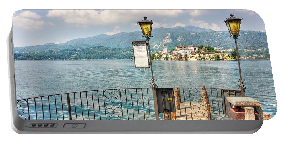 Island Of San Giulio Portable Battery Charger featuring the photograph Island San Giulio On Lake Orta by Mats Silvan