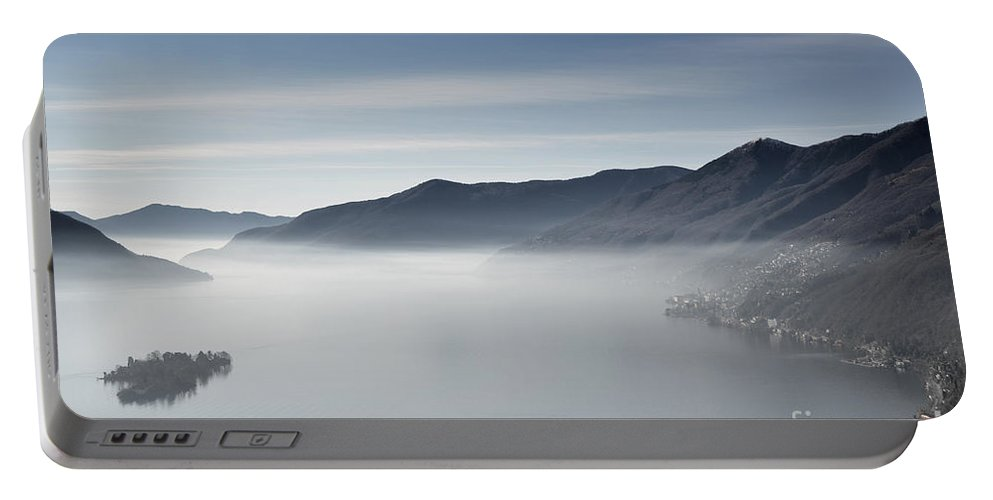 Island Portable Battery Charger featuring the photograph Islands On A Foggy Lake by Mats Silvan