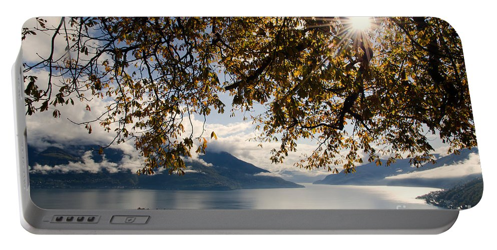 Islands Portable Battery Charger featuring the photograph Islands On A Lake In Autumn by Mats Silvan