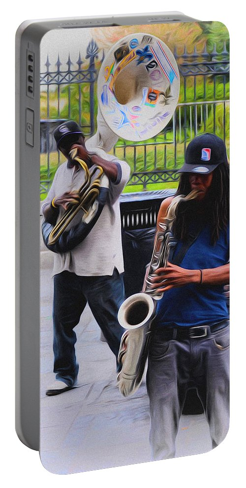 Jackson Square Jazz Portable Battery Charger featuring the photograph Jackson Square Jazz by Bill Cannon