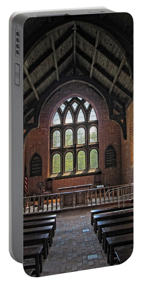 Jamestown Portable Battery Charger featuring the photograph Jamestown Church Interior by Dave Mills