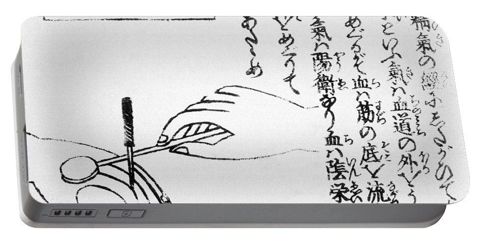 History Portable Battery Charger featuring the photograph Japanese Illustration Of Moxa by Science Source
