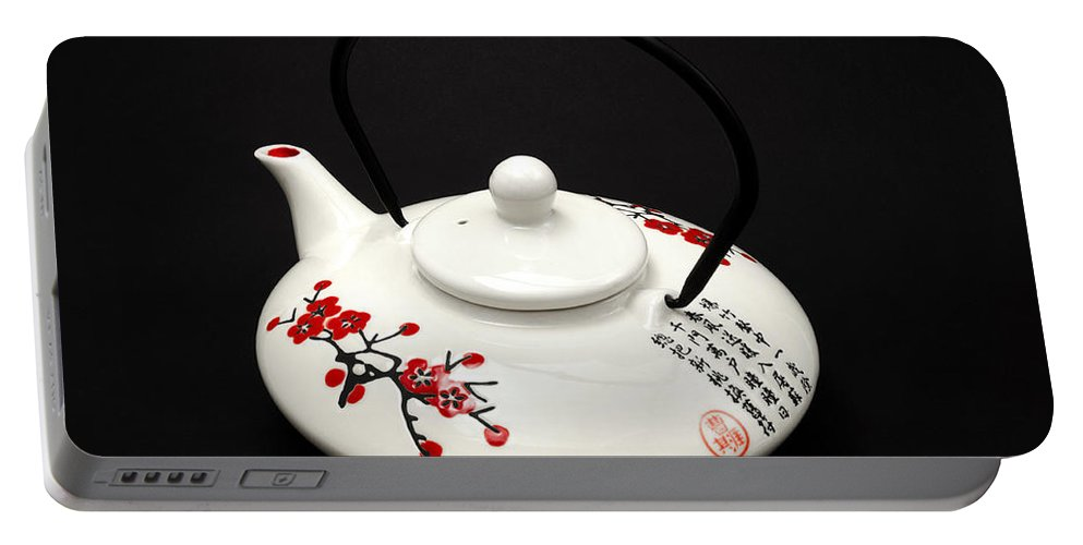Black Background Portable Battery Charger featuring the photograph Japanese Teapot by Fabrizio Troiani