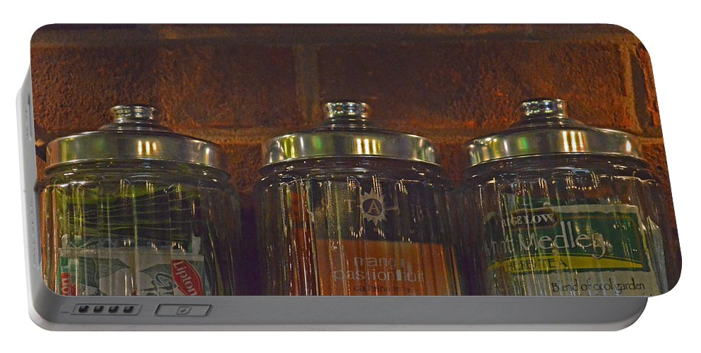 Tea Portable Battery Charger featuring the photograph Jars Of Assorted Teas by Sandi OReilly