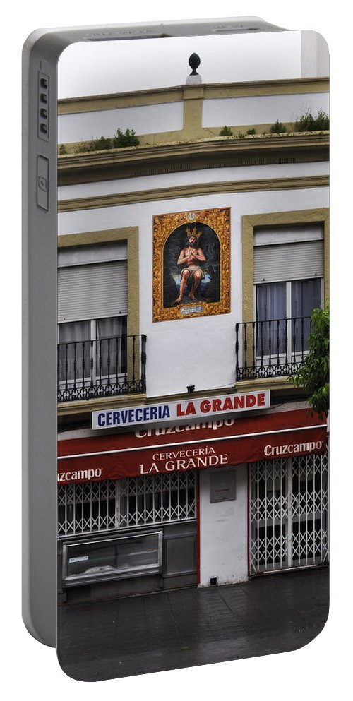 Jesus De Las Penas Portable Battery Charger featuring the photograph Jesus And The Cerveceria by Mary Machare