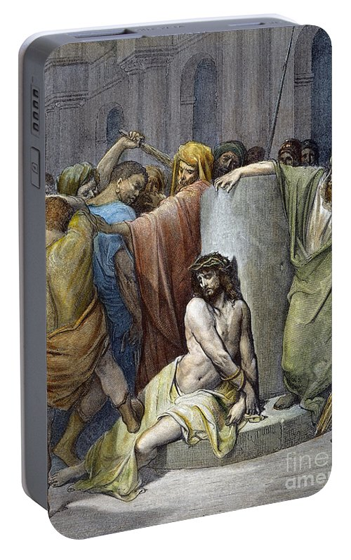 Beating Portable Battery Charger featuring the drawing Scourging Of Jesus by Gustave Dore
