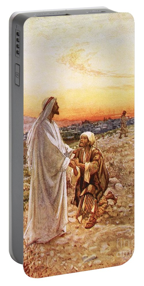 Bible; Jesus Christ; Leper; One Of Ten; Lepers; Thanks; Gratitude; Miracle Portable Battery Charger featuring the painting Jesus Withe The One Leper Who Returned To Give Thanks by William Brassey Hole