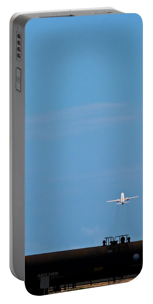 Airplane Portable Battery Charger featuring the photograph Jet Airplane Take-off by Ed Gleichman