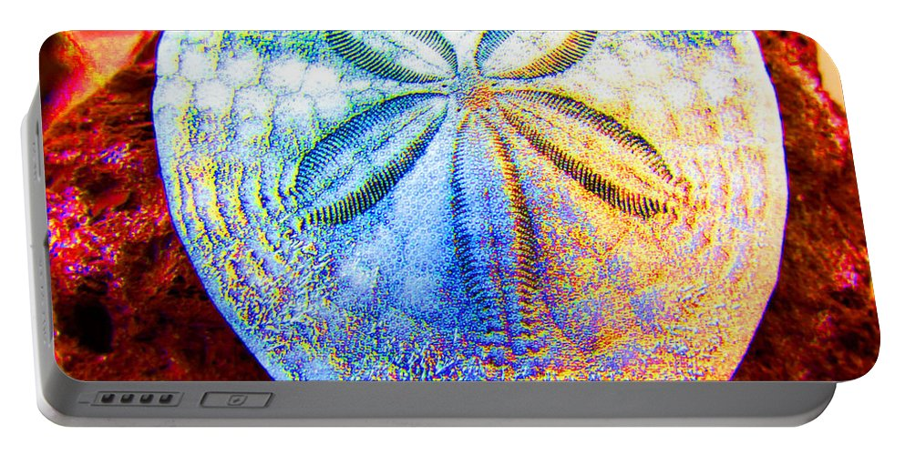 Sand Dollar Portable Battery Charger featuring the photograph Jeweled Sand Dollar by Marie Jamieson