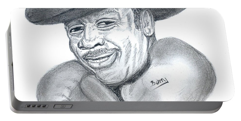 Sports Portable Battery Charger featuring the drawing Joe Frazier by Emmanuel Baliyanga