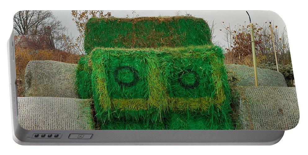 Usa Portable Battery Charger featuring the photograph John Deer Made Of Hay by LeeAnn McLaneGoetz McLaneGoetzStudioLLCcom