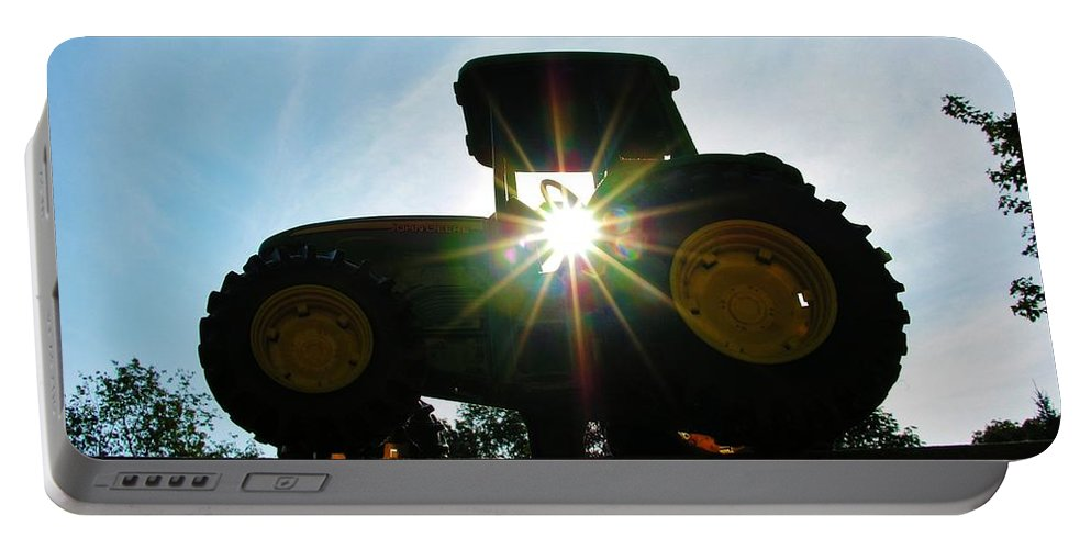 John Deere Portable Battery Charger featuring the photograph John Deere In The Morning Sun by Sherman Perry