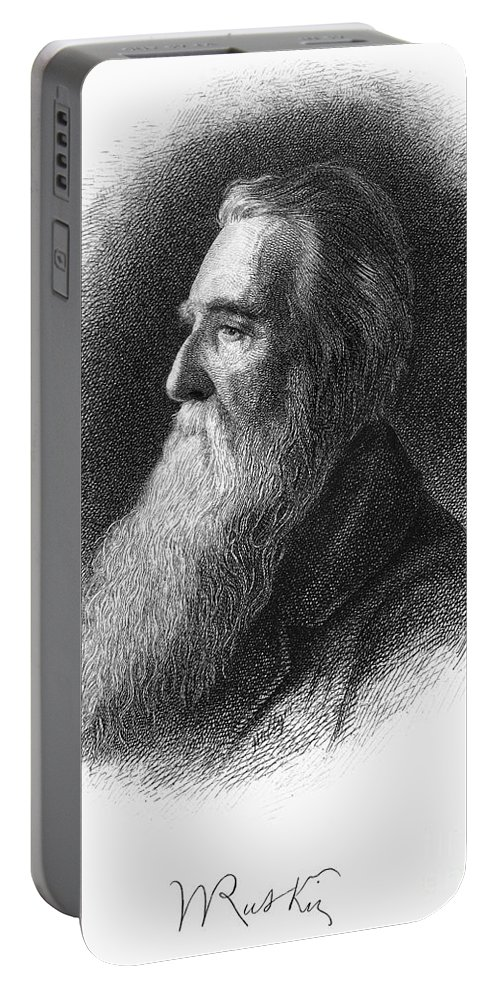19th Century Portable Battery Charger featuring the drawing John Ruskin by Granger