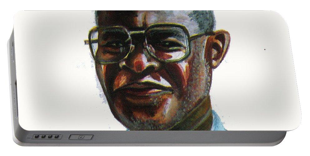 Portraits Portable Battery Charger featuring the painting Joseph Bessala by Emmanuel Baliyanga
