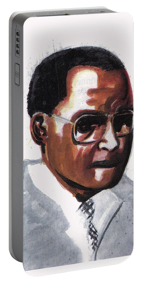 Portraits Portable Battery Charger featuring the painting Julian Percy by Emmanuel Baliyanga