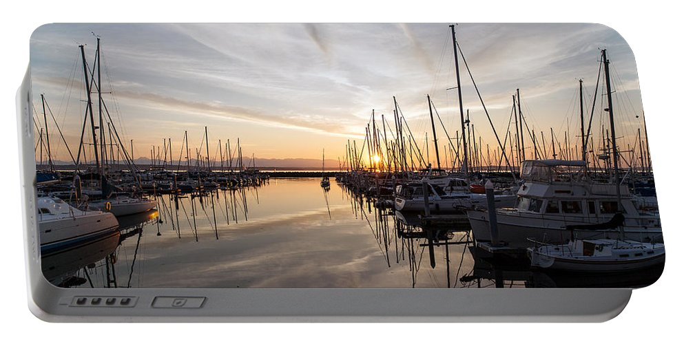 Sunset Portable Battery Charger featuring the photograph July Evening In The Marina by Mike Reid