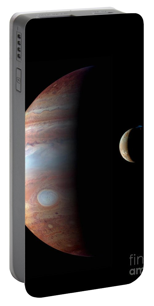 Science Portable Battery Charger featuring the photograph Jupiter And Io by NASA/Science Source