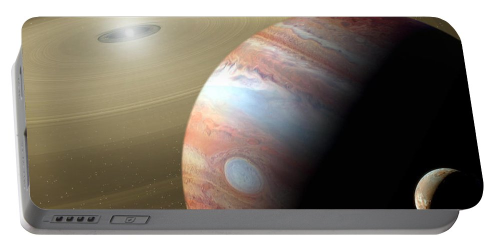 Animation Portable Battery Charger featuring the digital art Jupiter And Moon by Mike Agliolo and Photo Researchers