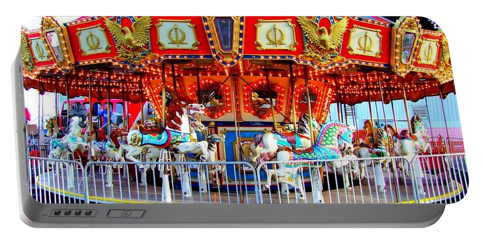 Carousel Portable Battery Charger featuring the photograph Kauai Carousel At Dusk by Mary Deal