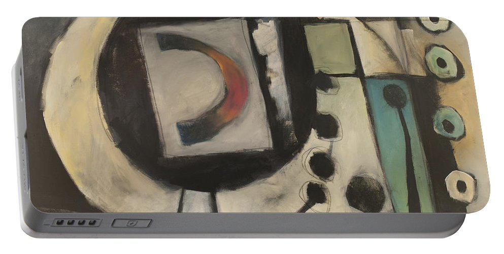 Abstract Portable Battery Charger featuring the painting Keep Em Guessing by Tim Nyberg